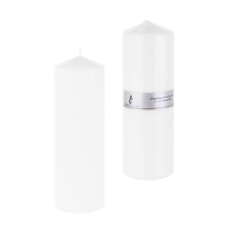 "Mega Candles - 3"" x 9"" Unscented Domed Top Press Pillar Candle in Shrink Wrap - White"