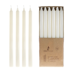 "Mega Candles - 12 pcs 12"" Unscented Straight Taper Candle in Brown Box - Ivory"