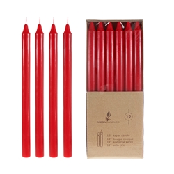 "Mega Candles - 12 pcs 12"" Unscented Straight Taper Candle in Brown Box - Red"