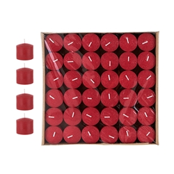 Mega Candles -10 Hours Press Unscented Votive Candle in Bulk - Red