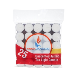 Mega Candles - 25 pcs Unscented Jumbo Tea Light Candle in Bag - White