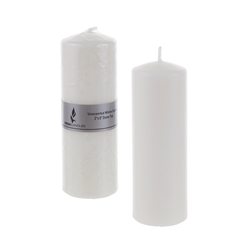 "Mega Candles - 2"" x 6"" Unscented Dome Top Press Pillar Candle - White"