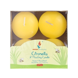 "Mega Candles - 4 pcs 2"" Citronella Floating Disc Candle in Designer Box - Yellow"