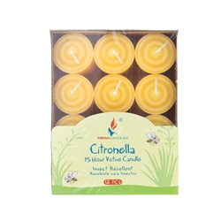 Mega Candles - 12 pcs 15 Hours Citronella Votive Candle in Designer Box - Yellow