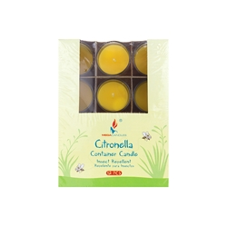 Mega Candles - 12 pcs Citronella Poured Votive Glass Container Candle in Designer Box - Yellow