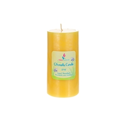 "Mega Candles -3"" x 6"" Round Citronella Pillar Candle in Shrink Wrap - Yellow"