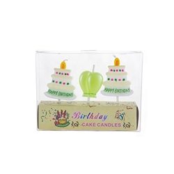 Mega Candles - 3 pcs Happy Birthday Cake and Balloon Party Pick Candle in Clear Box - Asst