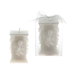 Mega Candles- Sculpted Angel Square Pillar Candle in Clear Box - White