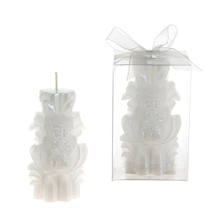 Mega Candles- Baby Angel on Carved Pillar Candle in Clear Box - White