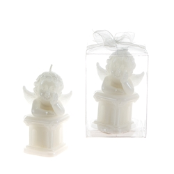 Mega Candles-Baby Angel on Square Column Candle in Clear Box - White