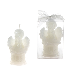 Mega Candles-Baby Angel Sitting on Round Column Candle in Clear Box - White