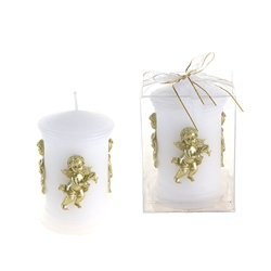 Mega Candles - Sculpted Angel Round Pillar Candle in Clear Box - Gold