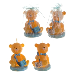 Mega Candles - Teddy Bear in Various Positions Candle - Blue