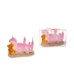 Mega Candles - Baby Phrase in Beach Theme with Teddy Bear Candle in Clear Box - Pink