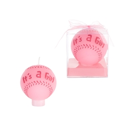 Mega Candles -Baby Baseball Candle in Gift Box - Pink