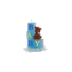 Mega Candles - Baby Block with Teddy Bear Candle in Gift Box - Blue