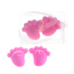 Mega Candles - Baby Footprints Floating Candle in Clear Box - Pink