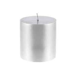 "Mega Candles - 3"" x 3"" Unscented Round Pillar Candle - Silver"