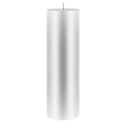 "Mega Candles - 3"" x 9"" Unscented Round Pillar Candle - Silver"