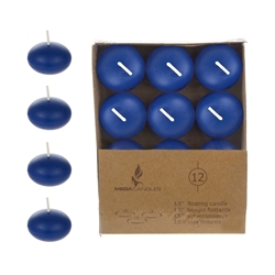 "Mega Candles - 12 pcs 1.5"" Unscented Floating Disc Candle in Brown Box - Dark Blue"
