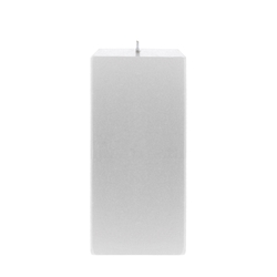 "Mega Candles - 3"" x 6"" Unscented Square Pillar Candle - Silver"