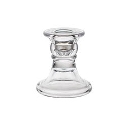 "Mega Candles - 3"" Taper Glass Candle Holder - Clear"