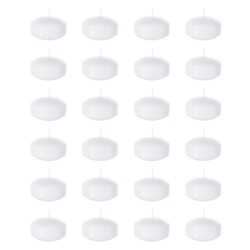 "Mega Candles - 24 pcs 2"" Unscented Floating Disc Candles - White"