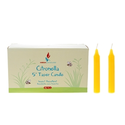 "Mega Candles - 48 pcs 5"" Citronella Straight Taper Candle in Designer Box - Yellow"