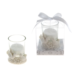 Mega Favors - Pair of Doves on Roses Poly Resin Candle Set in Gift Box - White