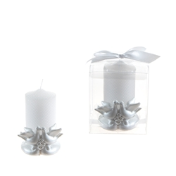 Mega Favors - Pair of Doves Poly Resin with Pearl Candle Set in Gift Box - White