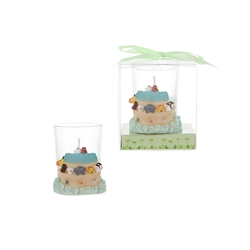 Mega Favors - Noah's Ark Poly Resin Candle Set in Gift Box - White