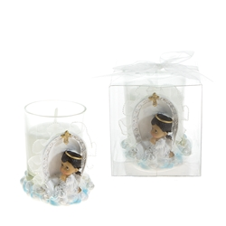 Mega Favors - Ethnic Baby Angel Praying on Clouds Poly Resin Candle Set in Clear Box - Pink