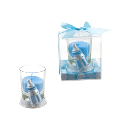 Mega Favors - Baby Bottle Poly Resin Candle Set in Gift Box - Blue