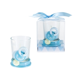Mega Favors - Baby Pacifier with Rhinestone Poly Resin Candle Set in Gift Box - Blue