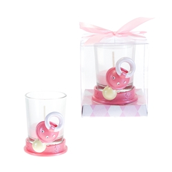 Mega Favors - Baby Pacifier with Rhinestone Poly Resin Candle Set in Gift Box - Pink