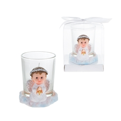 Mega Favors - Baby Angel Praying in White with Cross Poly Resin Candle Set in Gift Box - Blue