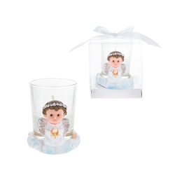 Mega Favors - Baby Angel Praying in White with Cross Poly Resin Candle Set in Gift Box - Pink