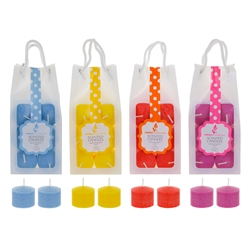 Mega Candles - 24 pcs Scented Votive Candle in Hanging PVC Bag - Asst