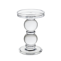 "Mega Candles - 6"" Pillar Glass Candle Holder - Clear"