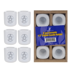 "Mega Candles - 6 pcs Ceramic 1/2"" Pentacle Chime Candle Holder - Silver"