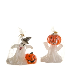 Mega Candles - Ghost with Pumpkin Candle - Orange