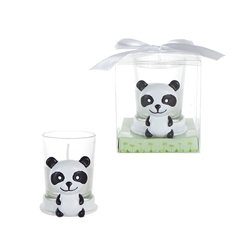 Mega Favors - Baby Panda Poly Resin Candle Set in Gift Box - White