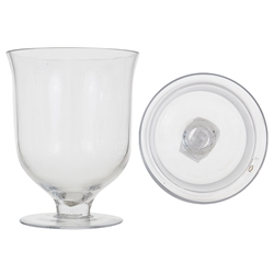 "Mega Vases - 6.75"" x 8.5"" Footed Hurricane Glass Vase - Clear"
