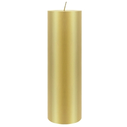 "Mega Candles - 3"" x 9"" Unscented Round Pillar Candle - Gold"