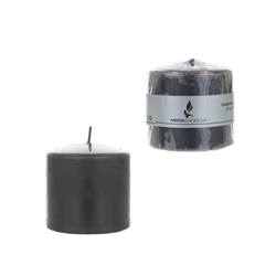 "Mega Candles - 3"" x 3"" Unscented Domed Top Press Pillar Candle in Shrink Wrap - Dark Gray"