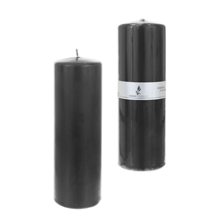 "Mega Candles - 3"" x 9"" Unscented Domed Top Press Pillar Candle in Shrink Wrap - Dark Gray"