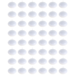"Mega Candles - 48 pcs 1.5"" Unscented Floating Disc Candle in Bulk - White"