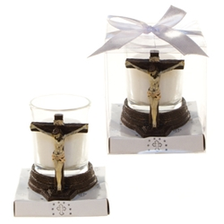 Mega Favors - Jesus on Cross Poly Resin Candle Set in Gift Box - White