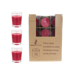 Mega Candles - 12 pcs Unscented Mini Glass Container Candle in Box - Red