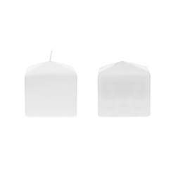 "Mega Candles - 3"" x 3"" Unscented Dome Top Square Pillar Candle - White"